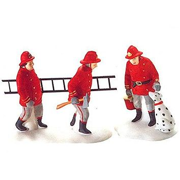 Department 56 Christmas in the City the Fire Brigade Set of 2 - Retired