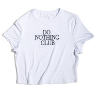 White Do Nothing Club Cropped Tee