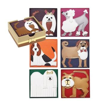 Kim Seybert | Pleather Pups Coasters-Set of 6
