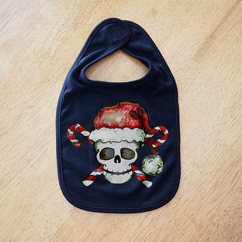 Christmas Sugar Skull Baby Bib. Santa novelty holiday clothes accessory Black. Punk Tattoo Gothic kids wear Baby Fun xmas infant toddler