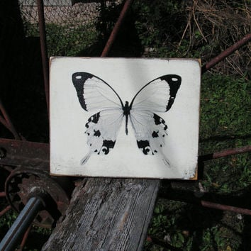 Butterfly wall sign and wall art. 10 x 8 black and white butterfly themed wooden sign.