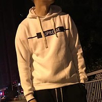 Supreme Fashion Casual Logo Print Plus Velvet Hooded Top Sweater Pullover