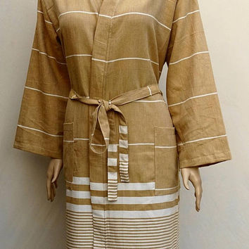Turkish soft cotton light weight yellowish brown colour hooded bathrobe, hooded dressing gown.