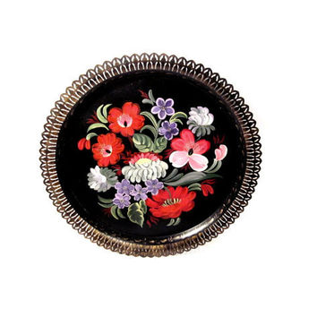 Vintage Toleware Tray, Black Tole Painted Metal