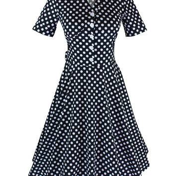 Polka Dots Print Short Sleeve Sheath Midi Skater Dress