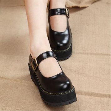 Fashion New 2017 Women Creepers Pu Women Flats Platform Mary Jane Ankle Strap Casual L