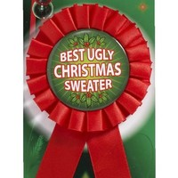 "Best Ugly Christmas Sweater Award Ribbon-Red 6.25"" Long"