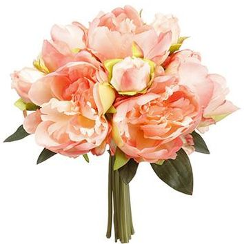 "Coral Peony Silk Flower Bouquet - 9"" Tall"