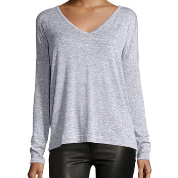 rag & bone/JEAN Theo Long-Sleeve V-Neck Tee, Light Gray