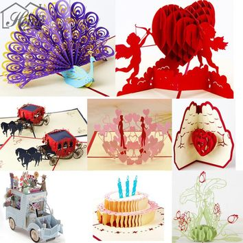 Romantic Paper 3D Laser Pop Up Greeting Gift Cards Handmade Birthday Cards Valentines Day Gifts Postcards Cake With Envelope