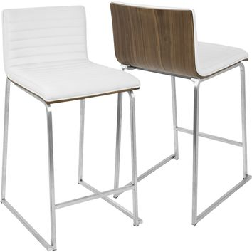 "Mara Contemporary 26"" Counter Stools, Walnut & White (Set of 2)"