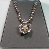 NOLAN MILLER Faux Pearl & Rhinestone Floral Necklace