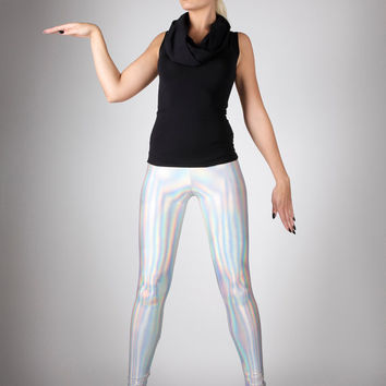 SALE: Holographic Rainbow Leggings, Futuristic Clothing, Hologram Spandex Pants, Club Wear, Dance Stage Outfit, Burning Man, by LENA QUIST