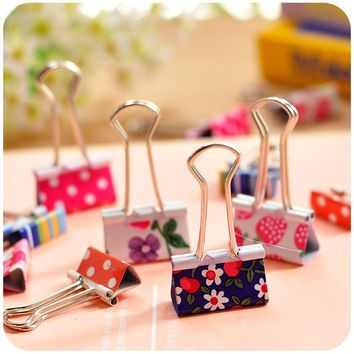 24 pcs/lot 19mm Colorful Flower Heart Pink Design Clips Purse Dovetail Paper Clip Metal Binder Clip School Office Supplies 02620