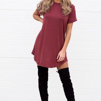 Luna Wine T-Shirt Dress
