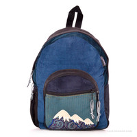 Mountain Corduroy Patchwork Backpack Blue on Sale for $49.99 at The Hippie Shop