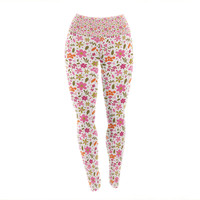 "Carolyn Greifeld ""Pink Flowers Garden"" Pink Red Yoga Leggings"