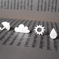 Sterling Silver Weather Forecast Ear Studs