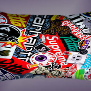 Top Famous Sticker Bomb Collage Supreme Pillow Case 16 x 24 20 x 26 2 Side Cover
