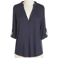ModCloth Minimal Mid-length 3 Fundamentals of Style Top in Navy