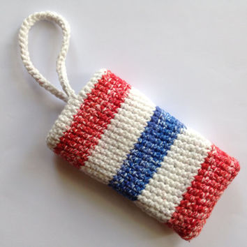 Iphone 5 4 case Galaxy Samsung Kindle smartphone tablet crochet purse 4th of July red white blue