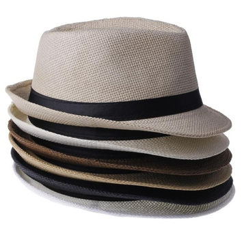6colors 2014 new Fashion Women men unisex Braid Fedora Trilby Gangster Summer Beach Sunhat sun Straw Panama Hat Couples Lovers Hats Caps = 1929925892