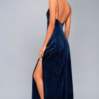 Studio Lounge Navy Blue Velvet Sequin Maxi Dress