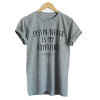 Justin Bieber Is My Boyfriend Women Tshirt Cotton Casual Short Sleeve Funny T Shirts Summer Style Tshirts Cotton Women Slim Tees