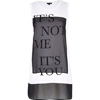 River Island Womens White it's not me it's you print tank top