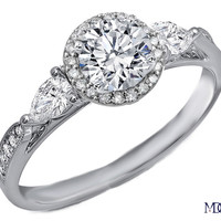 Engagement Ring - Cathedral Round Diamond Halo Engagement Ring Pear Shape side Diamonds in 14K White Gold - ES976HALOBRWG
