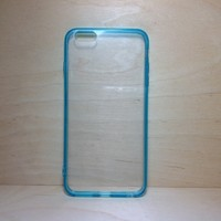 For Apple iPhone 6 Plus (5.5 inches) Turquoise Silicone Bumper and Clear Hard Acrylic Case