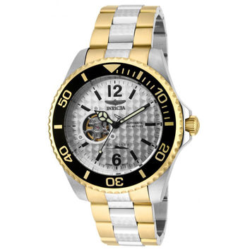 Invicta 15595 Men's Pro Diver Silver Dial Two Tone Bracelet Automatic Dive Watch