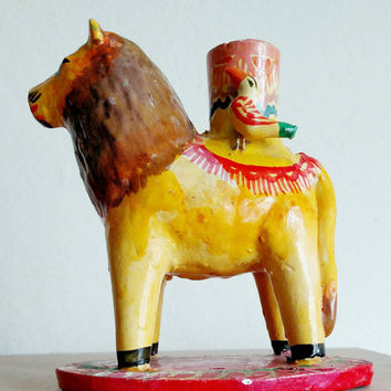 Vintage Mexican ceramic folk art lion candle holder heron martinez 1970s boho