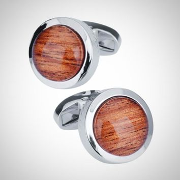 Round Glass Cuff-links for Men