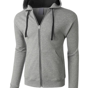LE3NO PREMIUM Mens Midweight Contrast Full Zip Hooded Sweatshirt (CLEARANCE)