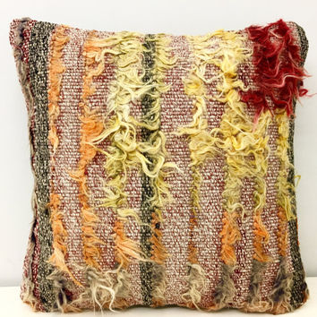 "Turkish kilim pillow, 16X16"" Wool Pillow, Turkish Pillow Cover, Rug Kilim pillows, Bohemian Vintage pillow, Ethnic Pillow, Rug Pillow Cover"