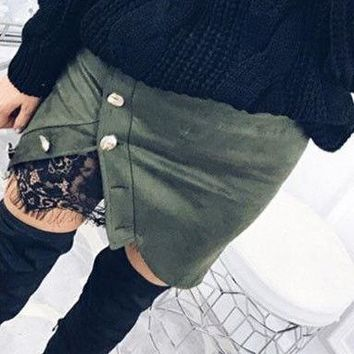High Waist Lace Up Suede Leather Pocket Preppy Short Mini Skirt