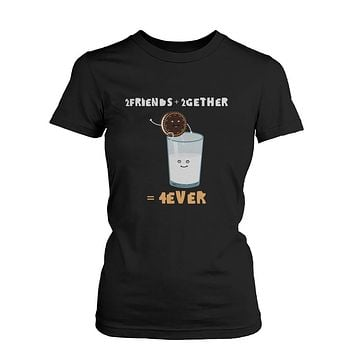 2 Friends 2gether 4ever Oreo and Milk Black Women's Shirt Ladies Graphic Tee