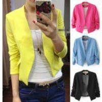 S M L Candy Color Womens Fashion Korea Solid Slim Casual Suit Blazer Coat Jacket