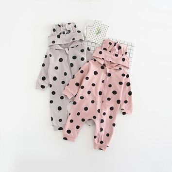 Spring Warm Newborn Baby Girl Boy Bear Ear Hooded Polka Dots Romper Jumpsuit Outfits Clothes baby boy girl clothes pink/grey