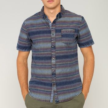 Walter Short Sleeve Woven Top - Blue/combo