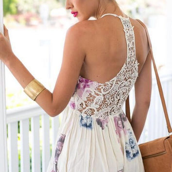 Apricot Floral Print Cut Out Back Romper