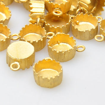 3 Pieces Gold Plated Cabochon Base Pendant, Jewelry Making Supplies, Jewelry Findings