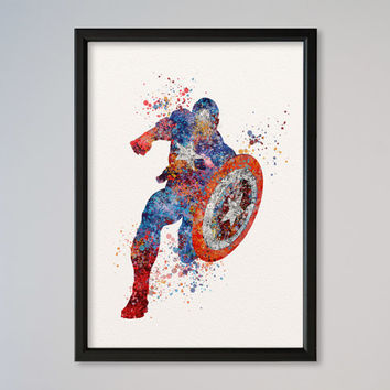 Captain America Poster Watercolor Print Marvel Comics The Avengers Assemble The First Avenger