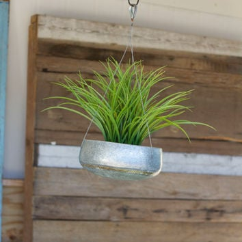 Hanging Zinc Planter with Brass Detail - Large