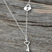 Sterling Silver Off Center Lock and Key Necklace