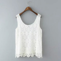 Sleeveless Hollow Out Floral Lace Vest Slim Spaghetti Strap Tops T-shirts [4919457540]