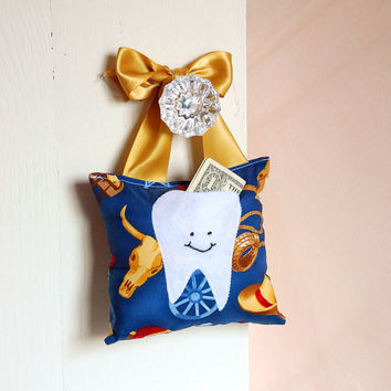 Boys Cowboy Western Tooth Fairy Pillow by BoutiqueVintage72