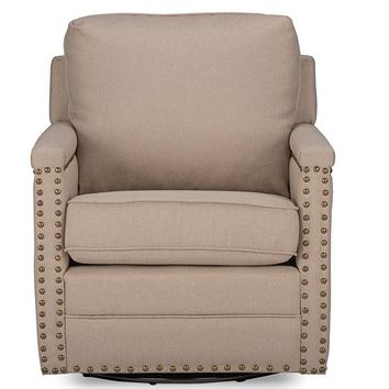 Baxton Studio Ashley Modern and Contemporary Classic Retro Beige Fabric Upholstered Swivel Armchair with Bronze Nail heads Trim Set of 1