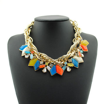 Chunky Statement Necklace Jewelry Bib Choker Necklace Layers Necklace Jewelry Gold Chain Necklace Women Prom Jewelry Wholesale Brand Jewelry